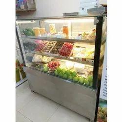 SS And Glass Rectangular Fruit Display Counter, Power Consumption: 2 Hp