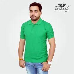 Plain Cotton Teekoof Mens Half Sleeve Green Polo T Shirt, Size: S-XXL
