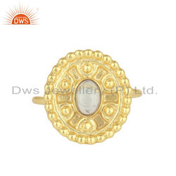 Ethiopian Opal Gemstone Handmade Design Gold Plated Silver Ring Supplier