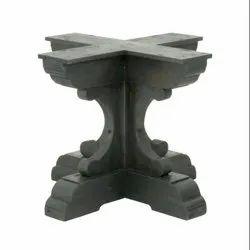 Brown Rectangular Wooden Pedestal Trestle Base for Home