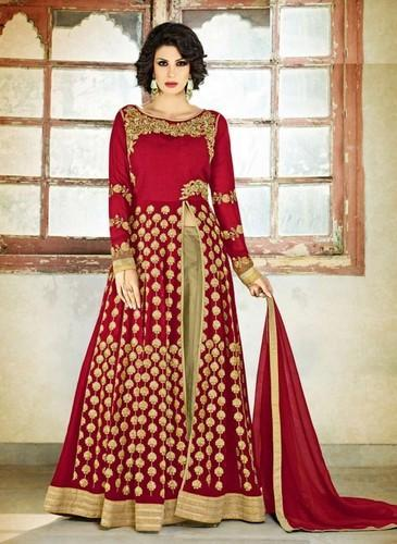 28dfbaed56c Georgette Red Embroidered Semi-Stitched Anarkali Suit