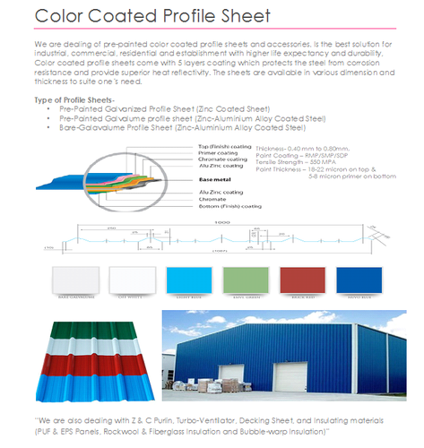 Cut length Steel Color Coated Profile Roofing Sheets, for Galvalume, Thickness of Sheet: 0.45mm to 6.0mm
