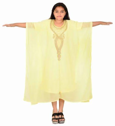 d7259fad6d20 Georgette Gold Embellished Yellow Kids Kaftan, Rs 999 /piece | ID ...