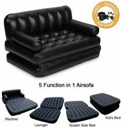 5 in 1 Inflatable 3-Seater Queen Size Sofa Cum Bed with Pump (74x60x25 Inches, Black)