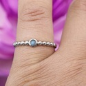 925 Sterling Silver Rainbow Gemstone Band Ring