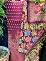 Pure Banarasi Cotton Chanderi 3 Pcs Ladies Handloom Suit