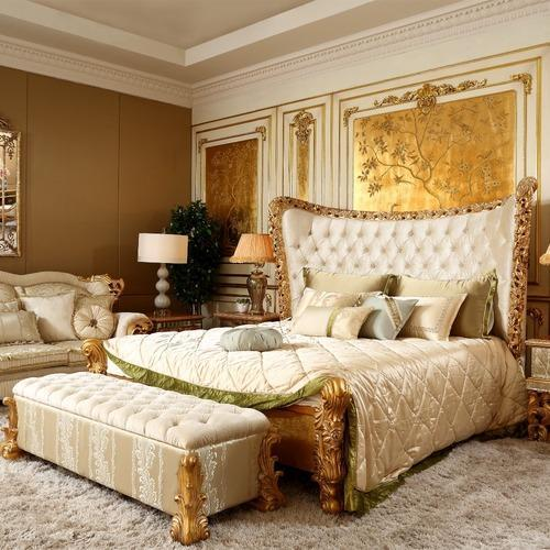 . Home Wood Luxury Carved Beds