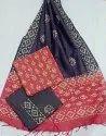 Casual Wear Unstitched Batik Print Khadi Silk Suit