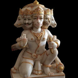 Sitting Marble Panchmukhi Hanuman Statue