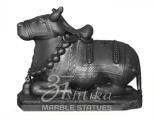 Hindu Black Marble Nandi Statue, for Interior Decor, Size: 9 To 72 Inches