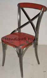 Handicraft Point SS and Wood Iron Stolica Chair with Distressed Finish