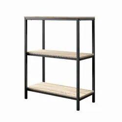 Black Iron and Wood Rajtai Living Room Side Storage Table