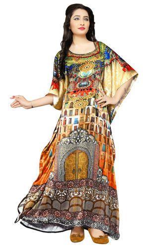 da05400275 Satin   Silk Women s Casual Party Wear 3D Digital Printed Kaftans ...