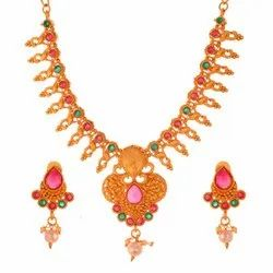Brass Party Wear Artificial Necklace Sets, Packaging Type: Box