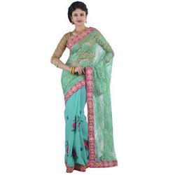 Colored Embroidered Net Saree