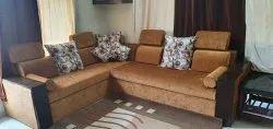 Pinewood and Sagwan Wood 5 Seater L Shape Sofa Sets, Warranty: 5 Years