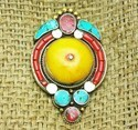 New Latest Elegant Design Amber & Coral Gemstone Tribal Nepali Pendant