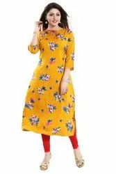 3/4th Sleeves Crepe  Kurti