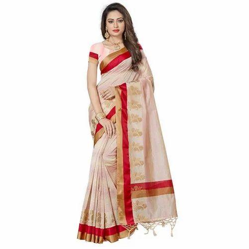 0df5b7005d 6.5 M Sanjoli Red & Golden Border Embroidery Saree, Rs 1635 /piece ...