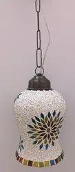 Fluorescent Bulb Glass Multicolor Ceramic Hanging Lamp, For Decoration