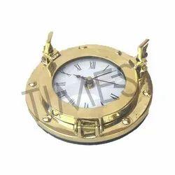 Aa R6 Battery Nautical Marine Brass Made Porthole Wall Clocks