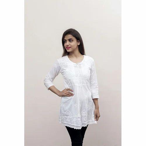 9467c639716 Cotton Linen Ladies White Kurti