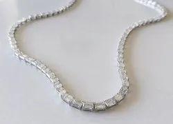 Single Line Emerald Cut DEF Moissanite Diamond Necklace
