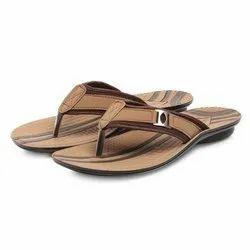 Mens Tan Stripped Casual PU Slippers