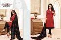Collar Neck Red Maarisha Salwar Suit Fabric