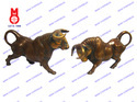 Brass Bulls Fighting Face Down (Two Pcs)
