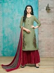 Designer Embroidery Work And Santoon Palazzo Suits