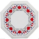Marble Dining Table Top Marquetry Floral Inlay Art