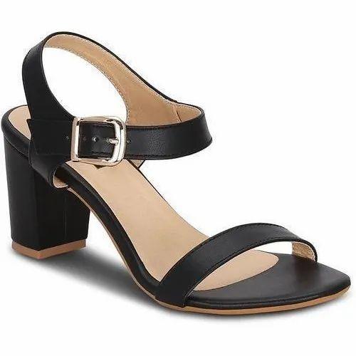 Black Party Wear Ladies Block Heel