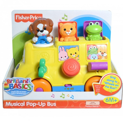 Multicolor Fisher Price Musical Pop Up Bus Toy