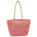 ezaro粉红色帆布黄麻时尚包