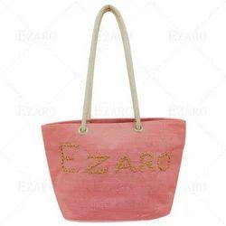 Ezaro Pink Canvas Jute Fashion Bags