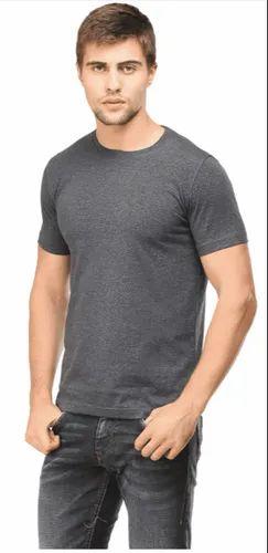 4955b21a976 Mens Half Sleeve Casual Wear Plain Dark Grey Round Neck T Shirt