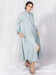 Blue Shirt Dress, Cotton Dress, Indian Dress, Dresses for Women