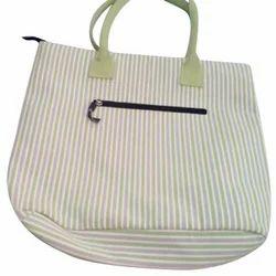 Striped Office Cotton Handbag