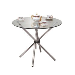 Clear Glass Glass Top Round Table, For Office, Size: 750