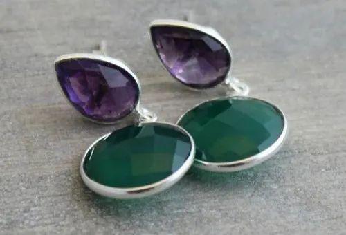Amethyst Earrings - Green Onyx Earrings