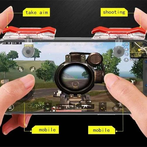 PUBG Mobile Game Controller E9 Latest Version Joystick Gaming Trigger (White-Red)