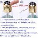 USB Air Humidifier Bulb 400 7 Colors Lamp