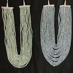 Natural White Ethiopian Opal Faceted Round Beads Necklace
