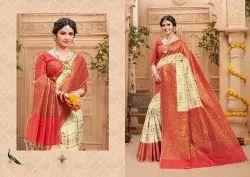 LSM Block Prints Banarasi Cotton Sarees, With Blouse, 6.3m