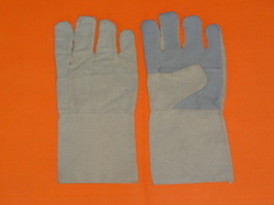 Cotton Half Leather Hand Gloves