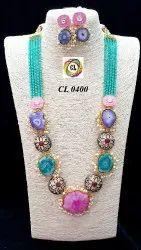 Clcode Statement Fashion Jewelry Druzy Stone Crystal Kundan Antique Beads Bollywood Fashion Necklace