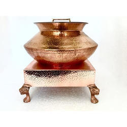 Copper Hammered Mini Patili with Heritage Chowki