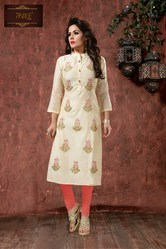 Paree Silk Embroidered Kurti, Size: M, L and XL