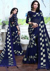 Sapphire Blue Fancy Party Wear Saree